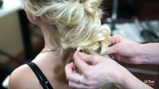 Свадебная прическа. Греческая коса из локонов и яркий макияж