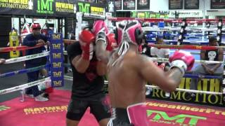 Kevin Lee sparring inside the Mayweather Boxing Club