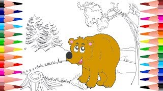 Painting Teddy Bear Coloring Pages for Kids - Coloring Teddy Beac in Coloring Book for Toddlers