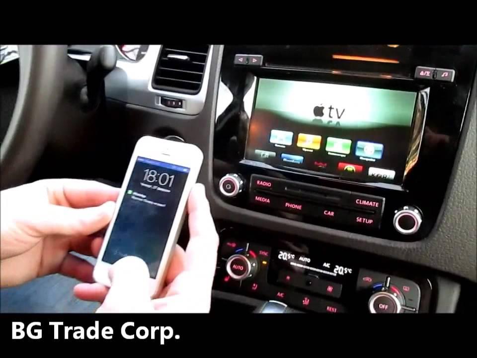 VW Touareg 2-nd Gen  RCD550 - Apple TV и iPhone на штатный монитор