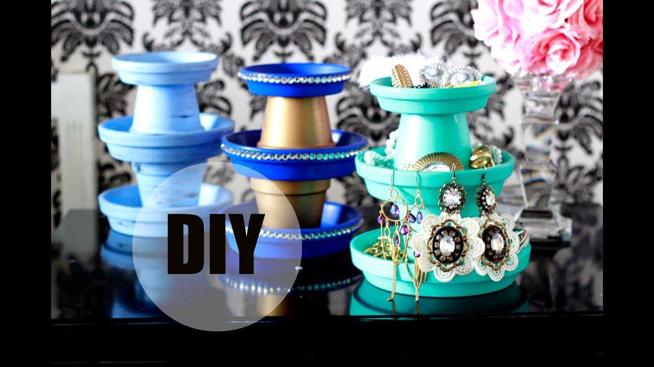 DIY 3 Tier Terracotta Pot Jewelry Stand 1 YouTube
