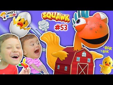 Chase's Corner: CHICKEN DANCE SONG! GUMMY BEARS + SQUAWK TOY CHALLENGE RAW EGG GAME #53 DOH MUCH FUN