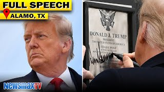 Trump autographs the border wall, talks 25th Amendment, and more at speech in Alamo, Texas