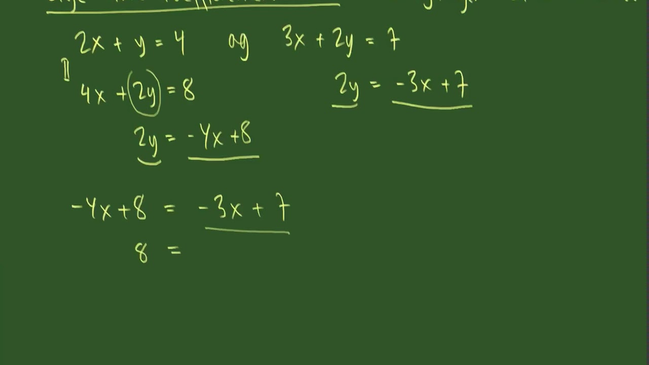 Løsning af to ligninger med to ubekendte med de lige store koefficienters metode,