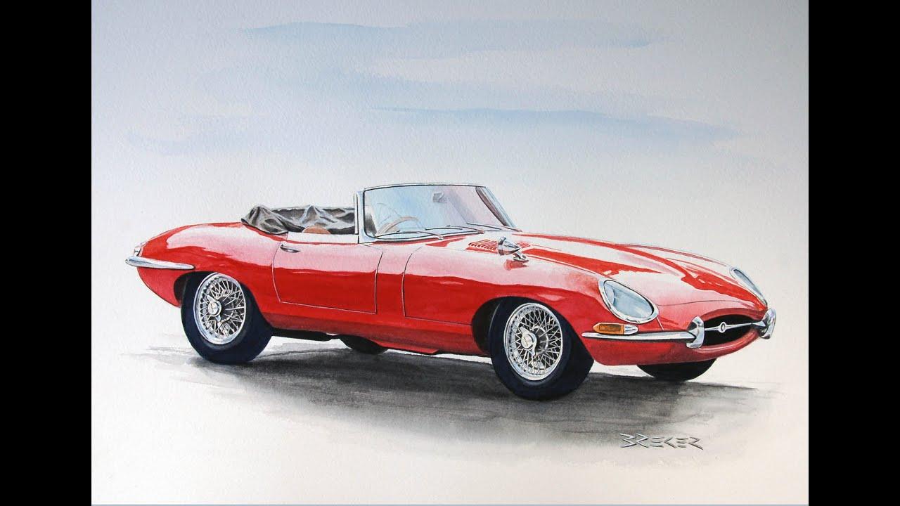 Autozeichnung Car Drawing Classic Cars Jaguar Bmw Mercedes Youtube
