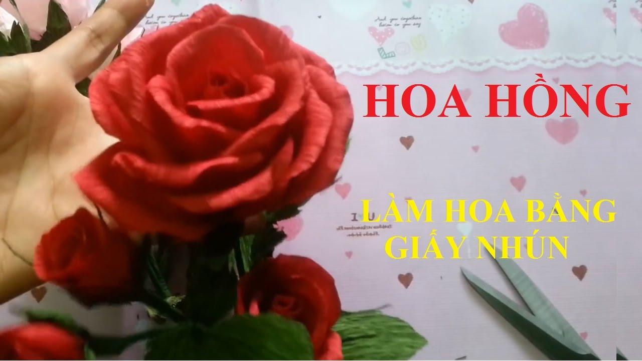làm hoa bằng giấy nhún đẹp – hoa hồng – handmade by Dzung Mac
