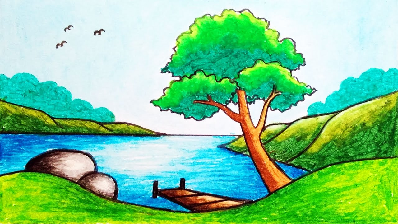 How to Draw Easy and Beautiful Lake Scenery Drawing for Beginners