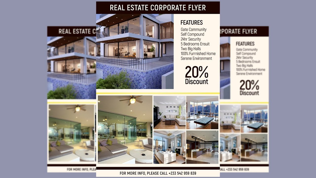 How To Design A CORPORATE REAL ESTATE FLYER | Photoshop Tutorial