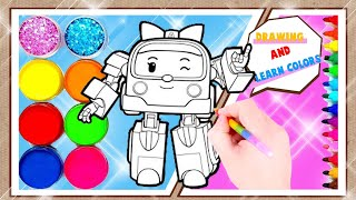 ❤️Robocar poli To Drawing and Coloring, Learn Colors for Children's