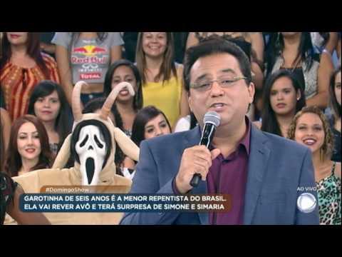 Domingo Show prepara surpresa para Geovana, a menor repentista do Brasil