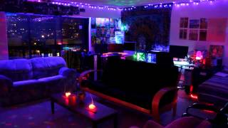 bedroom trippy led lights rooms decor bedrooms neon psychedelic lighting blacklight stoner living chill smoke hippy cool hippie dope dark