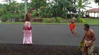 Samoan girl dancing at the Kaalolo in Fusi Savaii