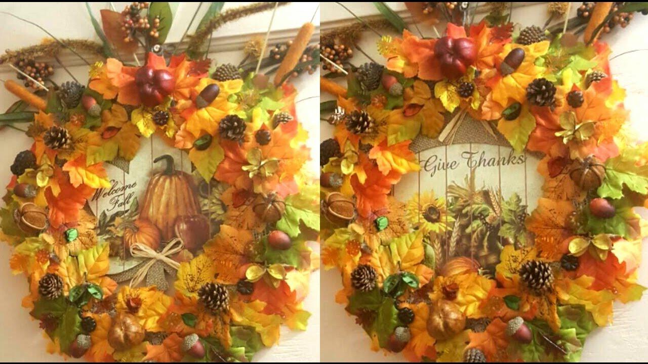 DIY FALL   Thanksgiving Wreath Using Dollar Tree Brands ...