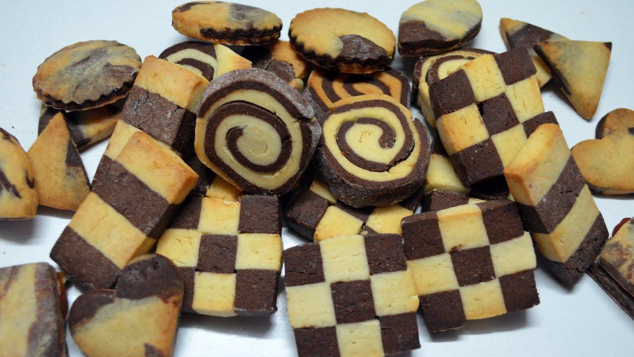 receta de galletas combinadas de chocolate y vainilla