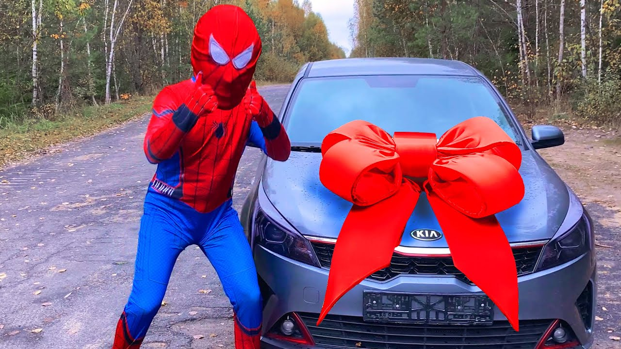 Spider-Man bought himself a new car and drove the Hulk