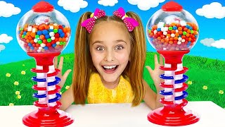 Sasha have competition for Colorful Gumball machine and Sweets