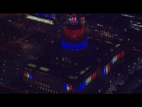 U.S. cities light buildings the color of France's flag in support of France