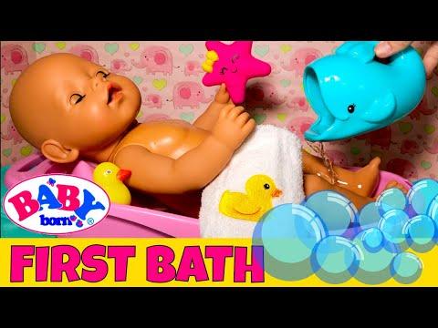 💦Baby Born Gemma's First Bath! 🍼Gentle Night Time Routine With Bottle, Bath & Baby Massage!😊