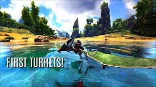 MAKING THE FIRST TURRETS - The Center PVP (E5) - ARK Survival Gameplay