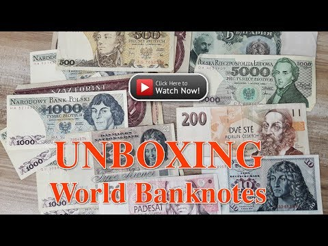 Unboxing World Banknotes: Czech koruna, German mark, Polish Zlotych, etc.