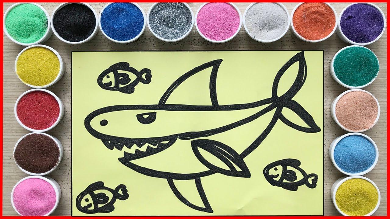 TÔ MÀU TRANH CÁT CÁ MẬP ĐANG SĂN MỒI - Sand painting hunting shark (Chim Xinh)