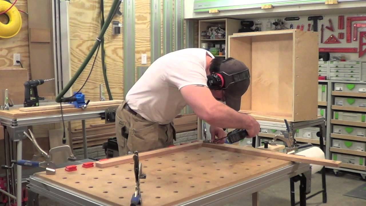 building kitchen cabinets part 20 making face frames for the wall cabinets youtube - Kitchen Cabinets Frames