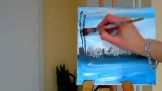 Рисуем вместе. Как рисовать пейзаж.Уроки рисования акрилом. Landscape