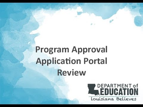 Program Approval Application Portal Review