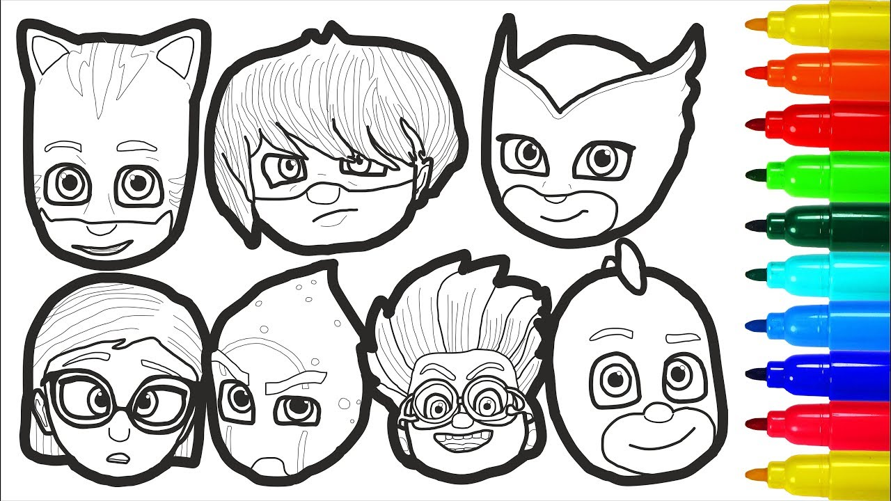 PJ Masks Face Coloring Pages | Colouring Pages for Kids ...