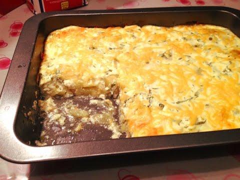 Картофельная запеканка с курицей. Potato casserole with chicken.