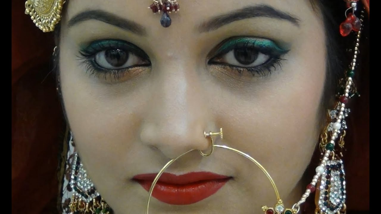 Indian/Pakistani Green Bridal Eye Makeup - YouTube