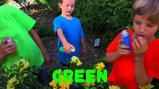 Learn English Colors! Spray Painting Rainbow Roses with Sign Post Kids!