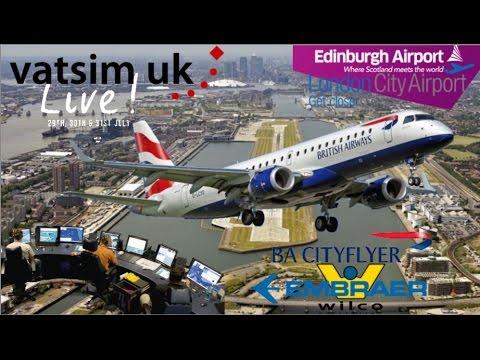 Wilco E190 on Vatsim UK Live. EGPH - EGLC London City Airport.