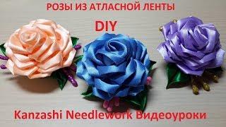 DIY Украшение на заколке Розы из атласной ленты в стиле Канзаши. Мастер-класс.
