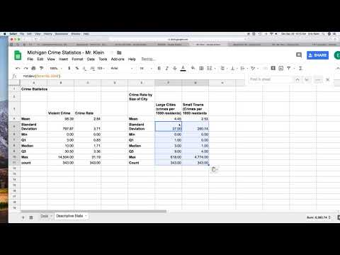 Descriptive Statistics Using Sheets Video 3
