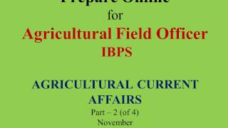 Agricultural Current Affairs November Part 2 of 4 in Hindi