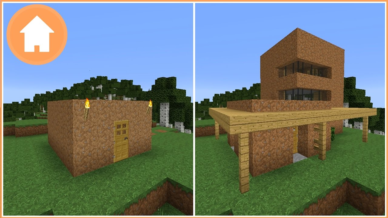 Minecraft Transforming A Dirt House Into A Modern House