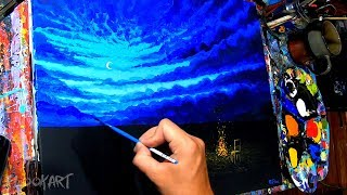 Painting A Relaxing Night Campfire Scene With Acrylic Paints. ( + Ambient Music )