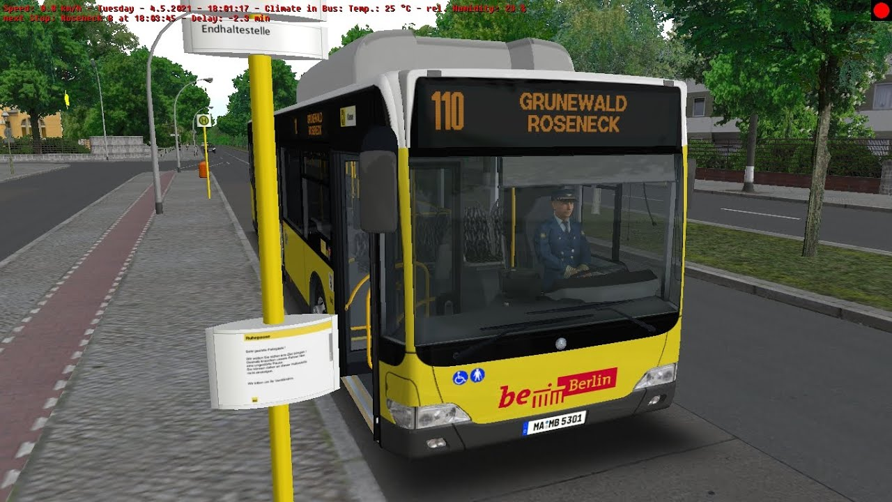Omsi 2 Berlin BRT Line 110 From Hertzallee To Roseneck With MB O530 FL CNG Voith