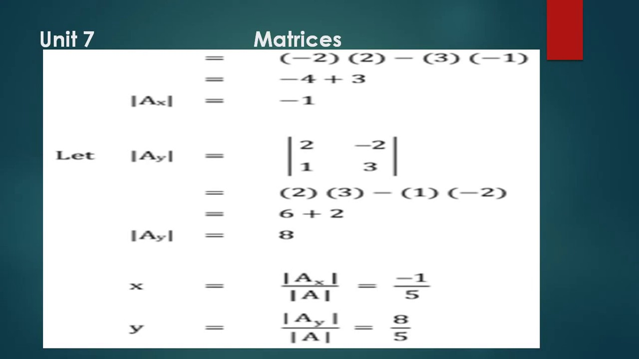 Exercise 7.5 Matric Math Complete Solution || Unit 7 Matrices Sindh ...