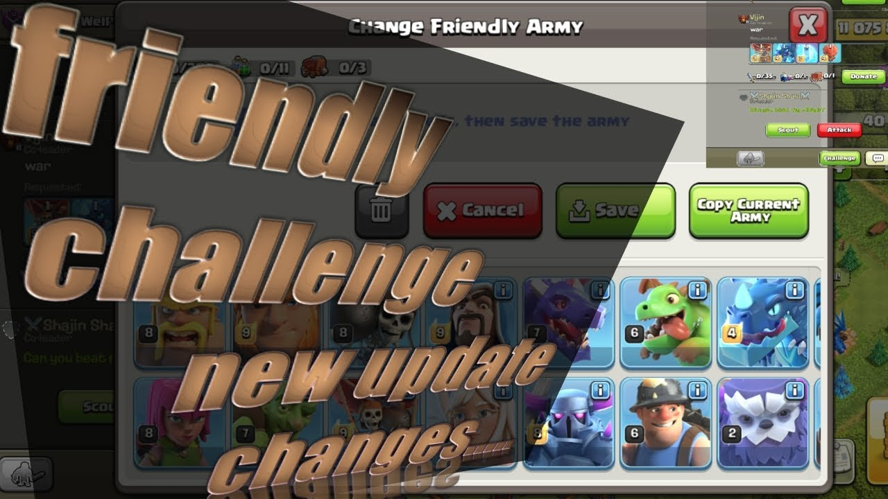 Friendly challenge new update changes | clash of clans | 2020