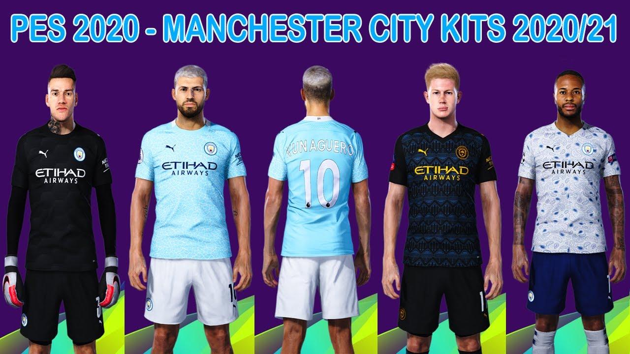 Pes 2020 New Kits Man City 2020 2021 Novos Uniformes Mci Youtube