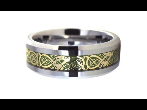 Tungsten Gold Celtic Dragon Ring Green Carbon Fiber Wedding Band