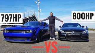 Dodge Hellcat Redeye Widebody vs Mercedes C63s AMG with Upgraded TURBOs