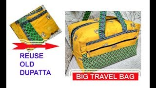 EASY HANDMADE BIG TRAVEL BAG FROM OLD DUPATTA cutting stitching of handbag in hindi