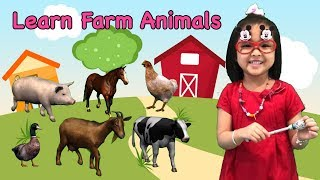 ❤ Learn Farm Animals Name ❤ Kids Learning - Learn Animals - Fun Learn Farm