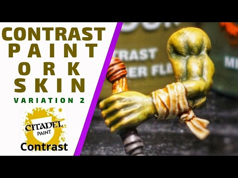 Contrast Paint Ork Skin: Variation 2 - Painting Ork skin with contrast paints.