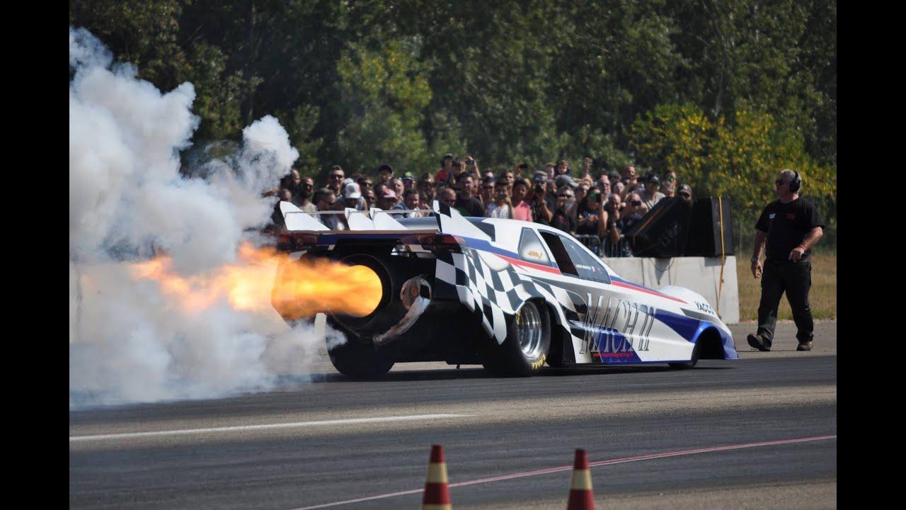 6000hp Jet Engine Funny Car Mach II - HUGE Flames - YouTube