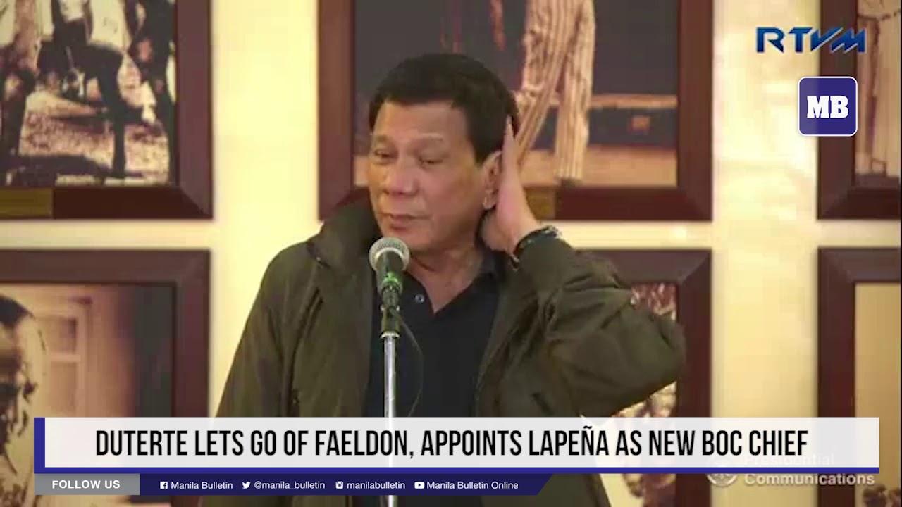 Duterte lets go of Faeldon, appoints Lapeña as new BoC chief