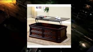 Parker House Corsica Rectangle Antique Vintage Wood Lift Top Coffee Table With Drawers And Casters